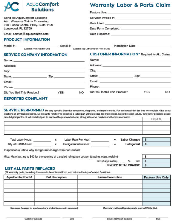 ACS Warranty Labor & Parts Claim Form